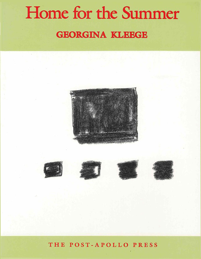 cover of Home for the Summer by Georgina Kleege; medium sized black charcoal square at center of white background with four smaller charcoal sqaures in a line underneath, a banner of light green across the top and bottom with the title, author name, and press name written in red typed letters