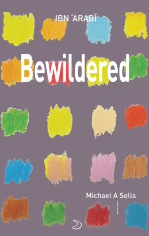 cover of Bewildered by michael a sells; light grey background with a four by five grid of colorful square-shaped smudges, title in white typed text centered near top
