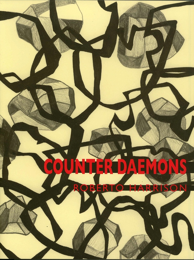 Counter Daemons by Roberto Harrison, Book cover showing thick black lines and cubes drawn in charcoal over yellow background.