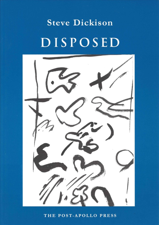 cover of disposed by steve dickison; blue background with a large off-white rectangle in the middle and black doodles inside, white typed text of title and author name centered above