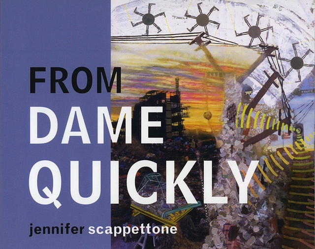 From Dame Quickly by Jennifer Scappettone, a busy painting of moments in an urban landscape, different shapes that traverse the image and give it movement, navy blue background