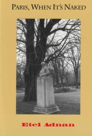 cover of Paris, When It's Naked by Etel Adnan; dull yellow background, large rectangular b&w photo at center of statue with bust of a man on a large podium in front of a large tree