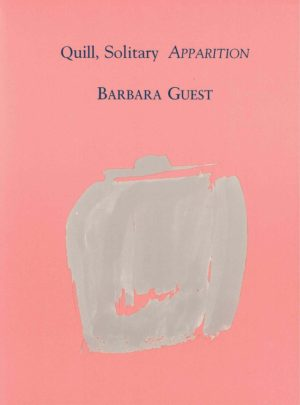 quill, solitary apparition by barbara guest, salmon pink background with light grey splotch in the middle