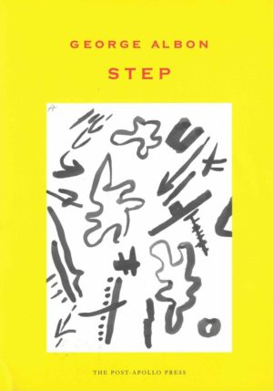 cover for Step by Gerorge Albon, bright yellow background with a large white rectangle in the middle and black doodles inside