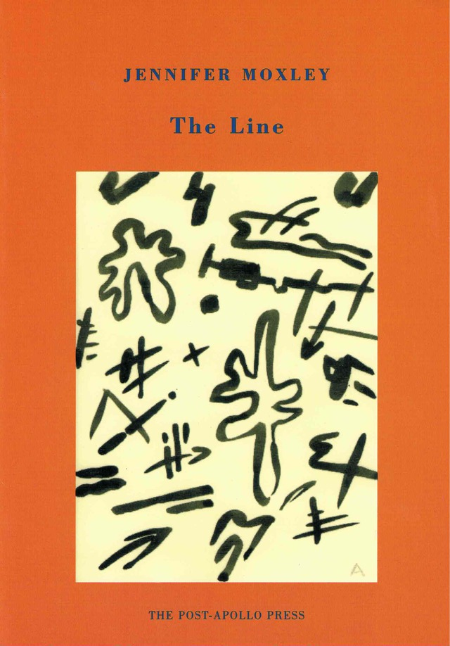 cover of The Lion by jennifer moxley; orange background with a large off-white rectangle in the middle and black doodles inside, title and author name in blue typed text centered above