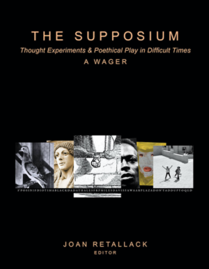 The Supposium: Thought Experiments & Poethical Play in Difficult Times, a Wager by Joan Retallack (Editor), Book Cover showing a collage of photographs, a marble sculpture, a dove, a man, a drawing of a foot, a painting of a face, a photograph of two people in a city.