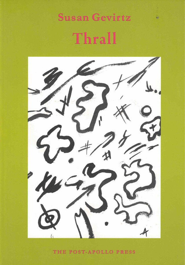 cover of Thrall by Susan Gevirtz, light green background with a large white rectangle in the middle and black doodles inside, title and author name in red typed text