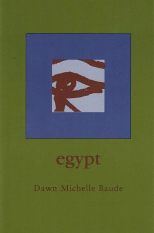 cover of egypt by Dawn Michelle Baude, olive green background with blue square in the center and a light grey square with a painted maroon eye inside