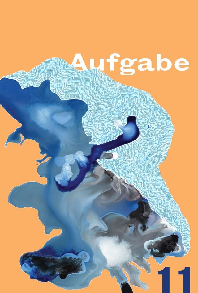 Afugabe 11 cover. Splotchy shades of blue marble pattern disintegrating into pale orange background.