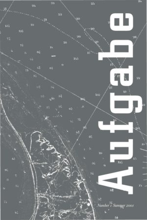 cover of Aufgabe 1, summer 2001; grey background, small typed white numbers dot the page with straight and curvy lines cutting through