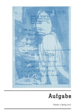 cover of Aufgabe 2; blue tinted image of a girl leaning on a counter overleyed with a piece of graph paper with handwritten notes in french