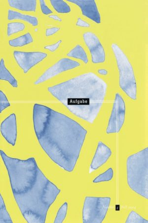cover of Aufgabe 4, fall 2004; light yellow-green background with scale-like shapes of shades of blue