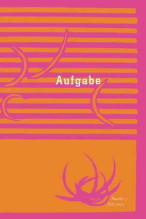 cover of Aufgabe 5, fall 2005; pink background with horizontal orange lines and an orange rectangle along the bottom with curved lines in pink and orange interrupting their background interrupting