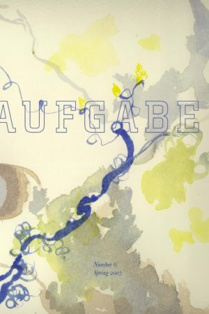 cover of Aufgabe 6, spring 2007; watercolor painting with curving lines and splotches in shades of yellow, grey, and blue