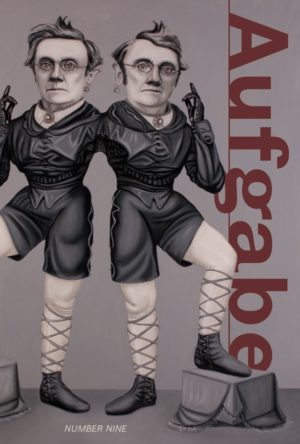 cover of Aufgabe 9; grey background and greyscale mirrored figure of a human in circus satire with one foot on a stool, both figured connected by their shoulder