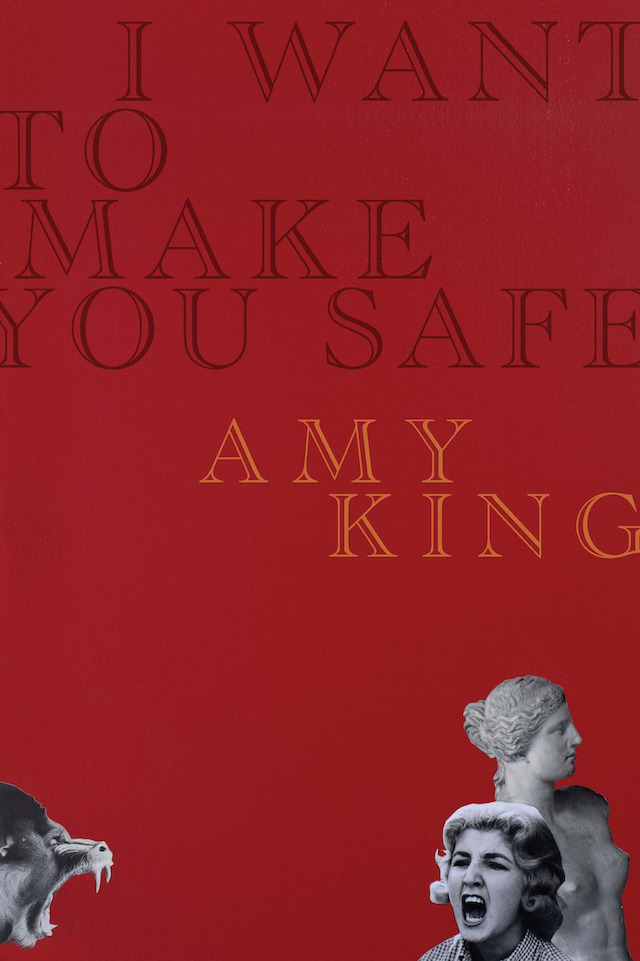 cover of I Want to Make You Safe by amy king; deep red background cutout b&w image of a screaming chimp, a screaming woman, and greek statue of a woman along the bottom
