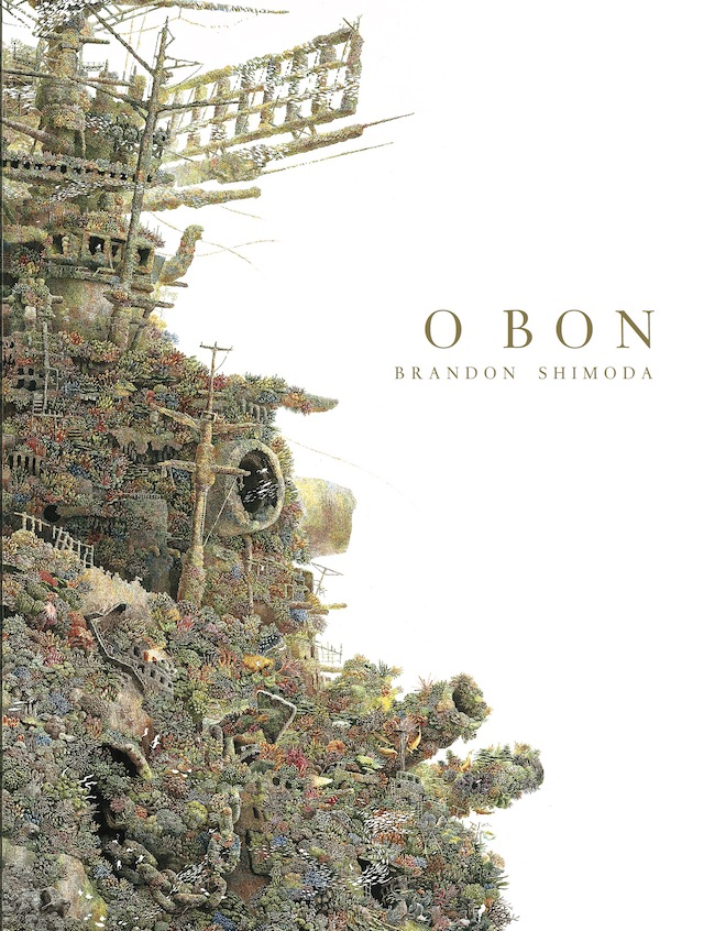 cover of O Bon by brandon shimoda; a ship covered in plants and algae and color growing on it like moss enters from the left side of the white page