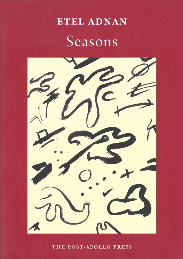 cover of Seasons by etel adnan, dull red background with a large off-white rectangle in the middle and black doodles inside, white typed text of title and author name centered above