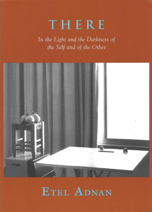 cover of THERE by etel adnan; burnt orange background, large square b&w photo of a table beside a stool on a box with gourdes in top, in front of a curtain and window