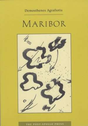 cover of Maribor by demosthenes agrafiotis, light yellow-green background with a large off-white rectangle in the middle and black doodles inside, black typed text of title and author name centered above
