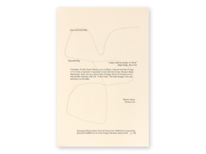 """Actualities"" Broadside, excerpted poem in the middle with large line drawing in the background"