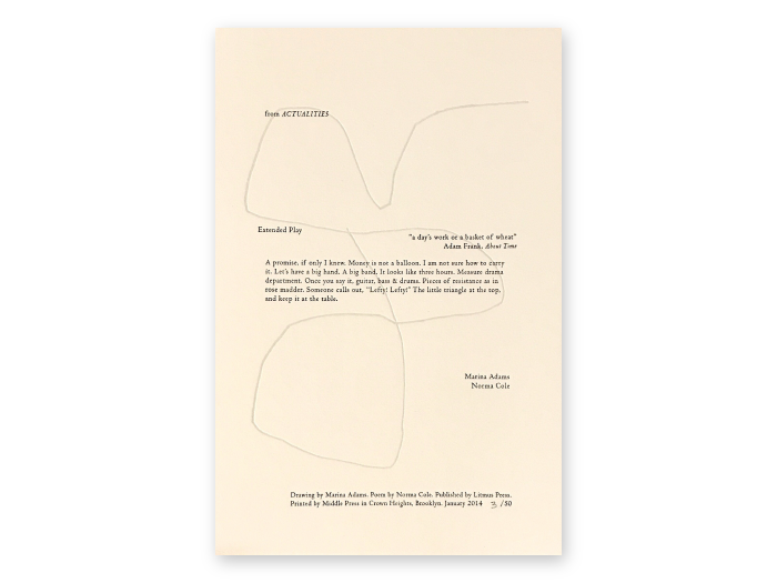 """""""Actualities"""" Broadside, excerpted poem in the middle with large line drawing in the background"""