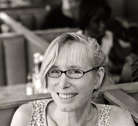 jean day contributor photo, b&w at a diner