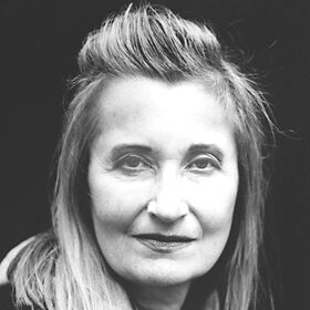 Elfriede Jelinek contributor photo, b&w close-up with black background