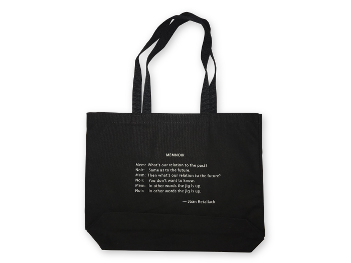 Joan Retallack Tote with quote from Memnoir