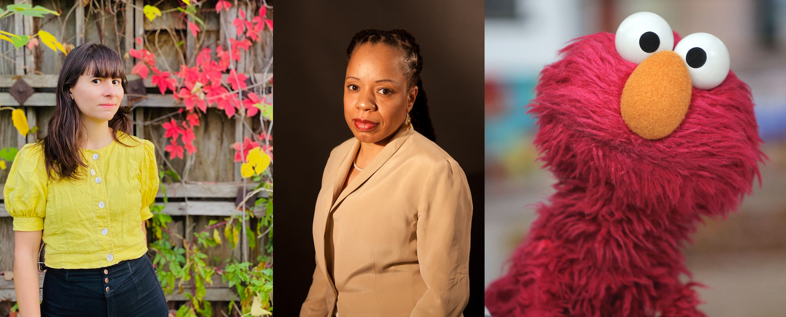 Three author photos in a row: the first shows Ada Smailbegovic standing outside, the next photo is of Tracie Morris, and the last is a picture of Elmo as a visual alias for author Elisabeth Houston