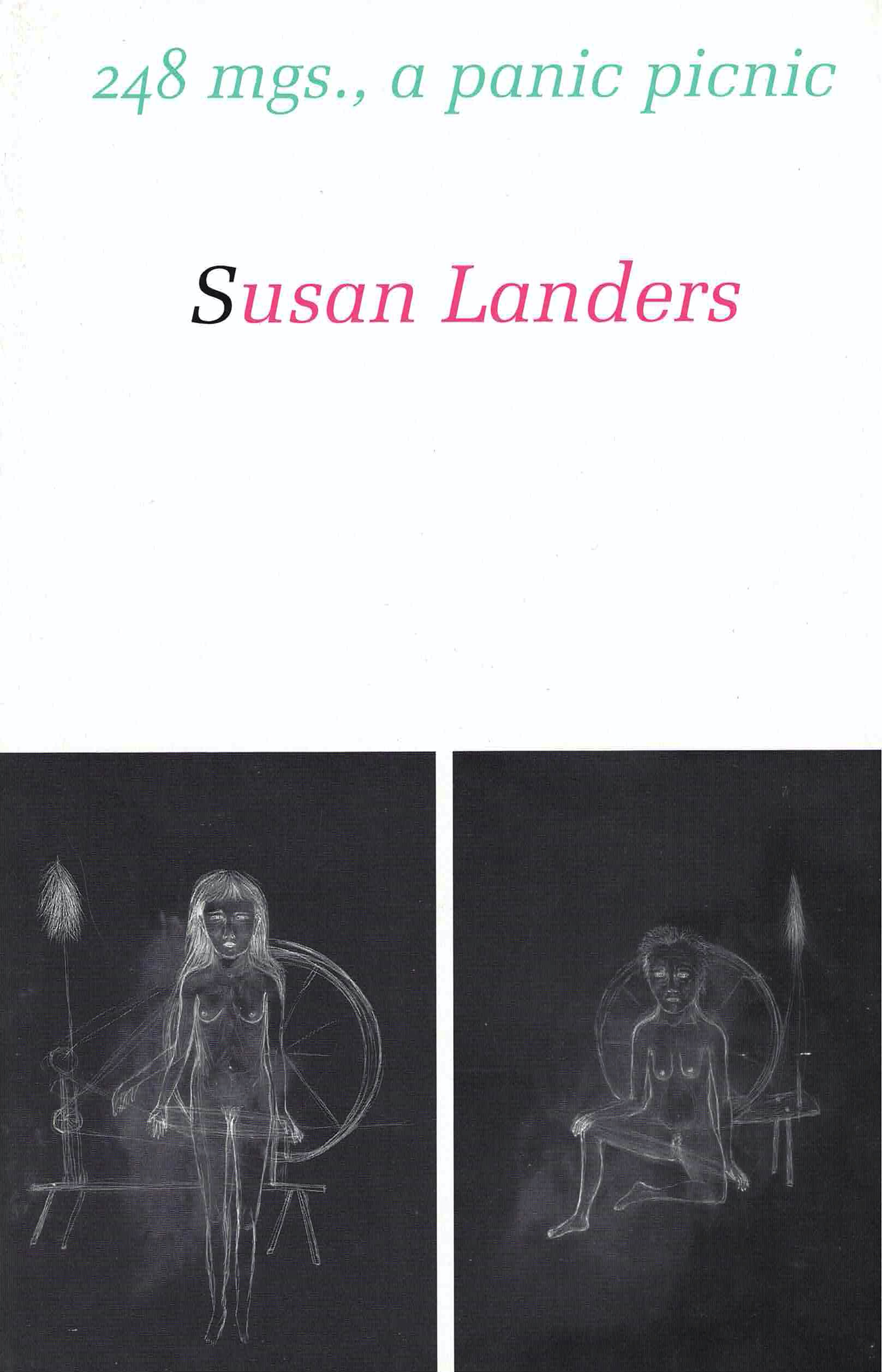 cover of 248mgs., a panic picnic by susan landers; white background with typed mint green title centered at top and author name centered in pink typing below, centered at bottom are two vertical rectangular images with black background, drawn in think white lines, each of the figure of a woman in the nude in front of a spinning wheel