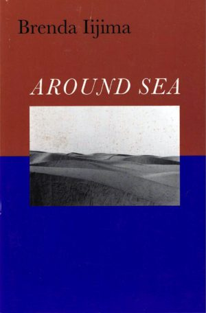 cover of Around Sea by brenda ijima; b&w rectangular photo of sandy dunes at center, top hald of background is brownish red, bottom half is bright blue, title is large white typed text centered above photo, author name is black typed text left-justified at the top