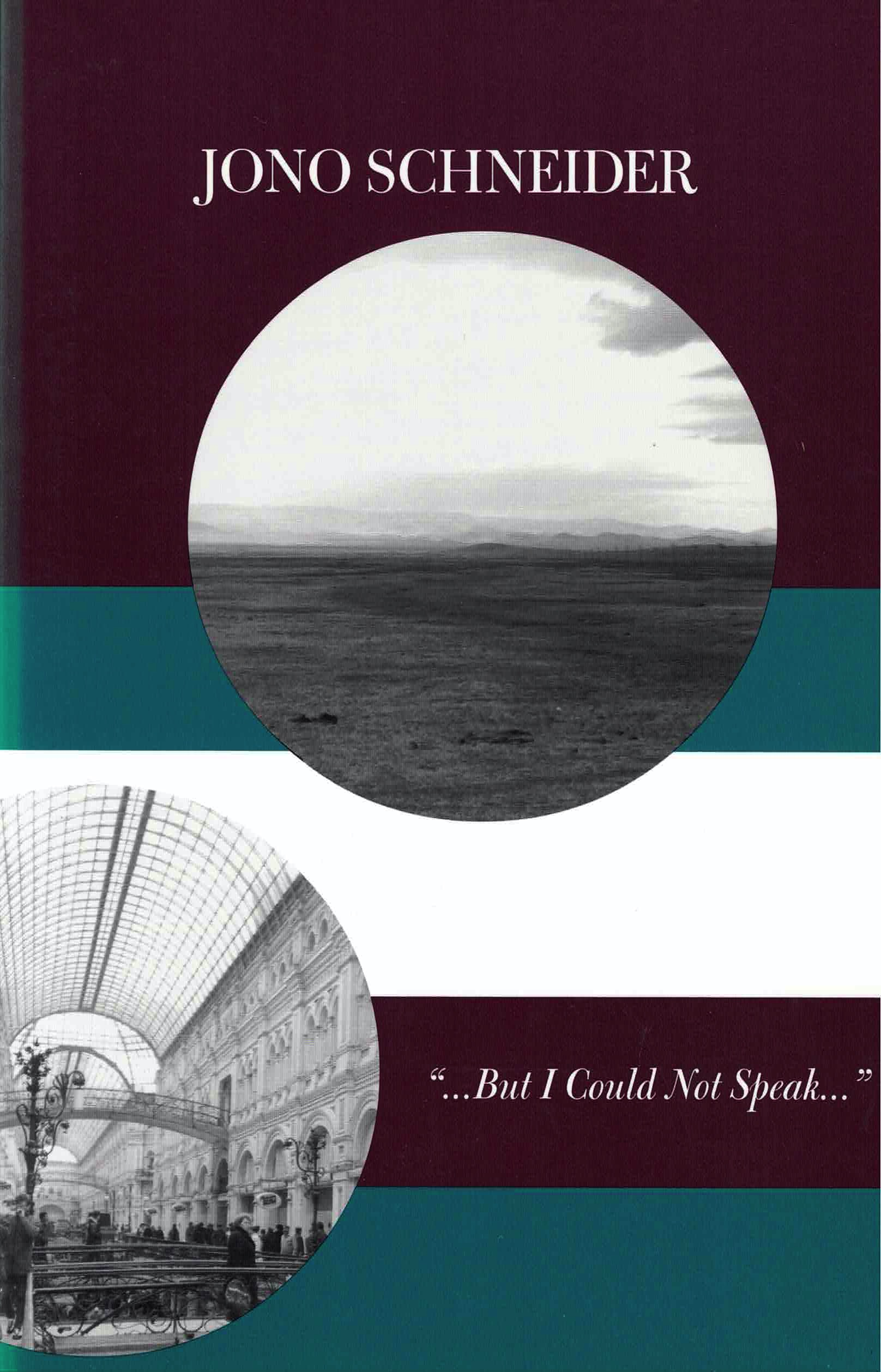 cover of But I Could Not Speak by Jono Schneider; large circular b&w image of bare landscape with horizon line, hills in the distance, and an open sky near top center, circular b&w image of inside of busy public building with arched ceiling windows and many columned archways falling off the page at bottom left, baclground is thick stripes of dark purple-brown, teal blue, and white