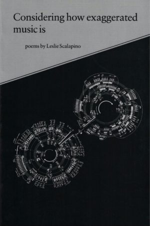 cover of Considering how exaggerated music is by Leslie Scalapino; diagonal line horizontally one-third down the cover, grey on top, black background on the bottom with two circles made up of music score