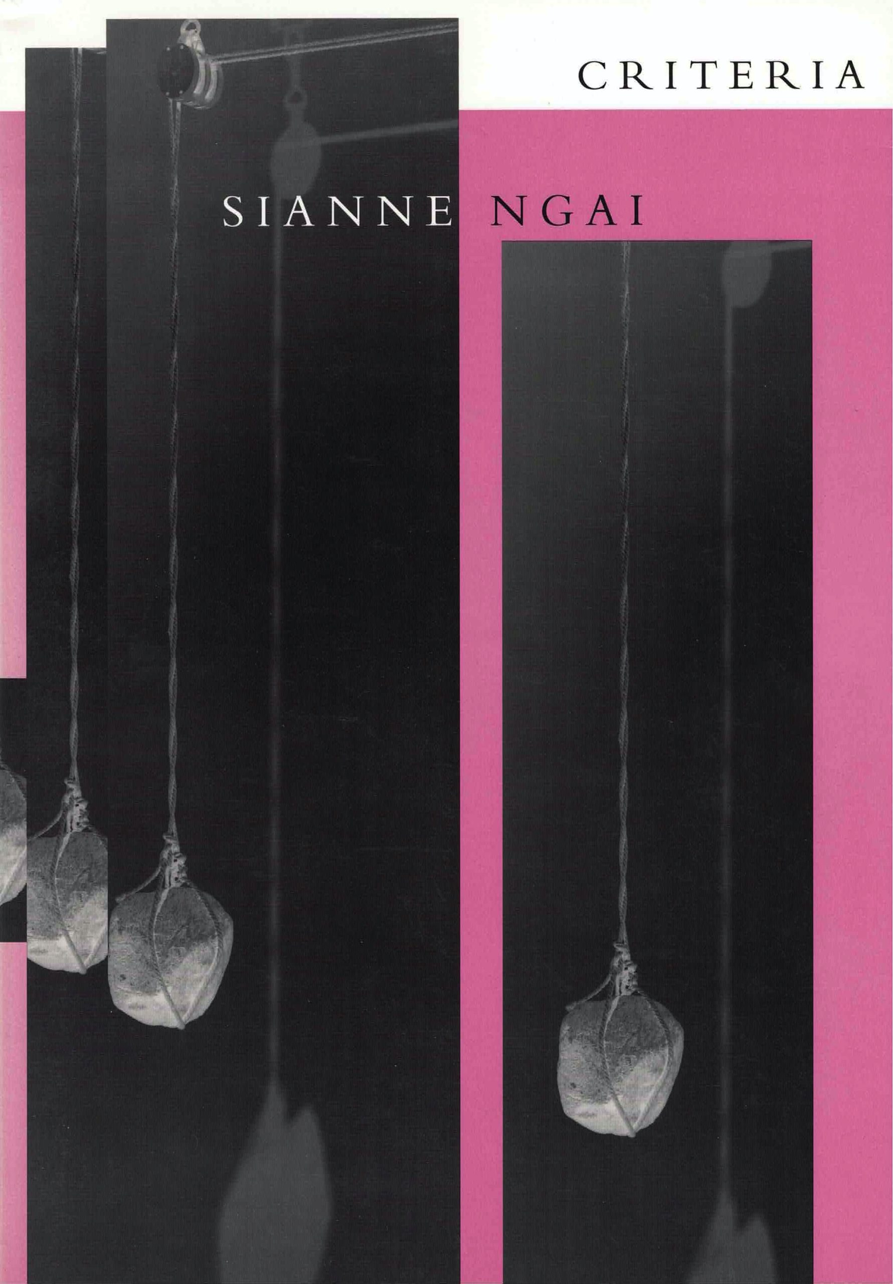 cover of Citeria by Sianne Ngai; three repeated narrow vertical negative photos layered on top of each other of stone tied to a pulley system casting it shadow on the wall, photos are on a pink background