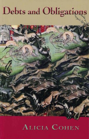 cover of Debts and Obligations by Alicia Cohen; detailed painting of fleeing prey animals with predator animals in pursuit and hunting