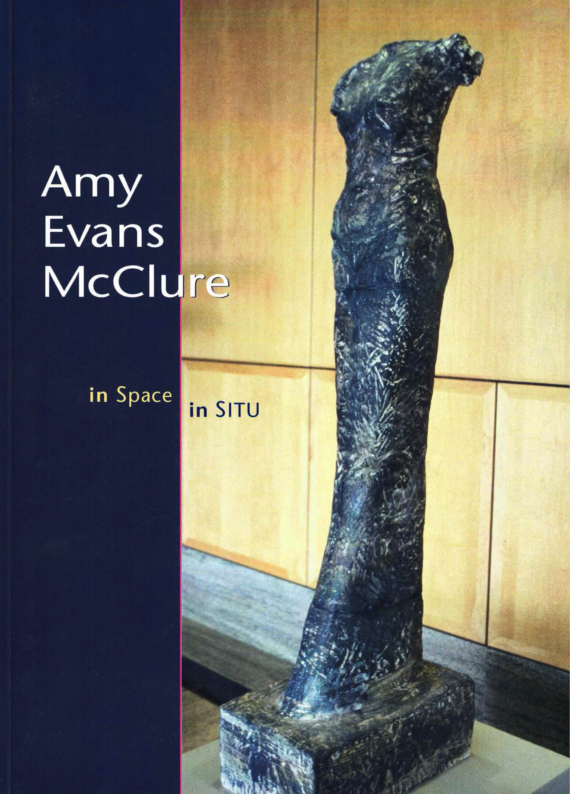 cover of In Space In Situ by Amy Evans McClure; photo of a navy blue statue on a pedestal in front of a wood wall of a woman with no arms or head