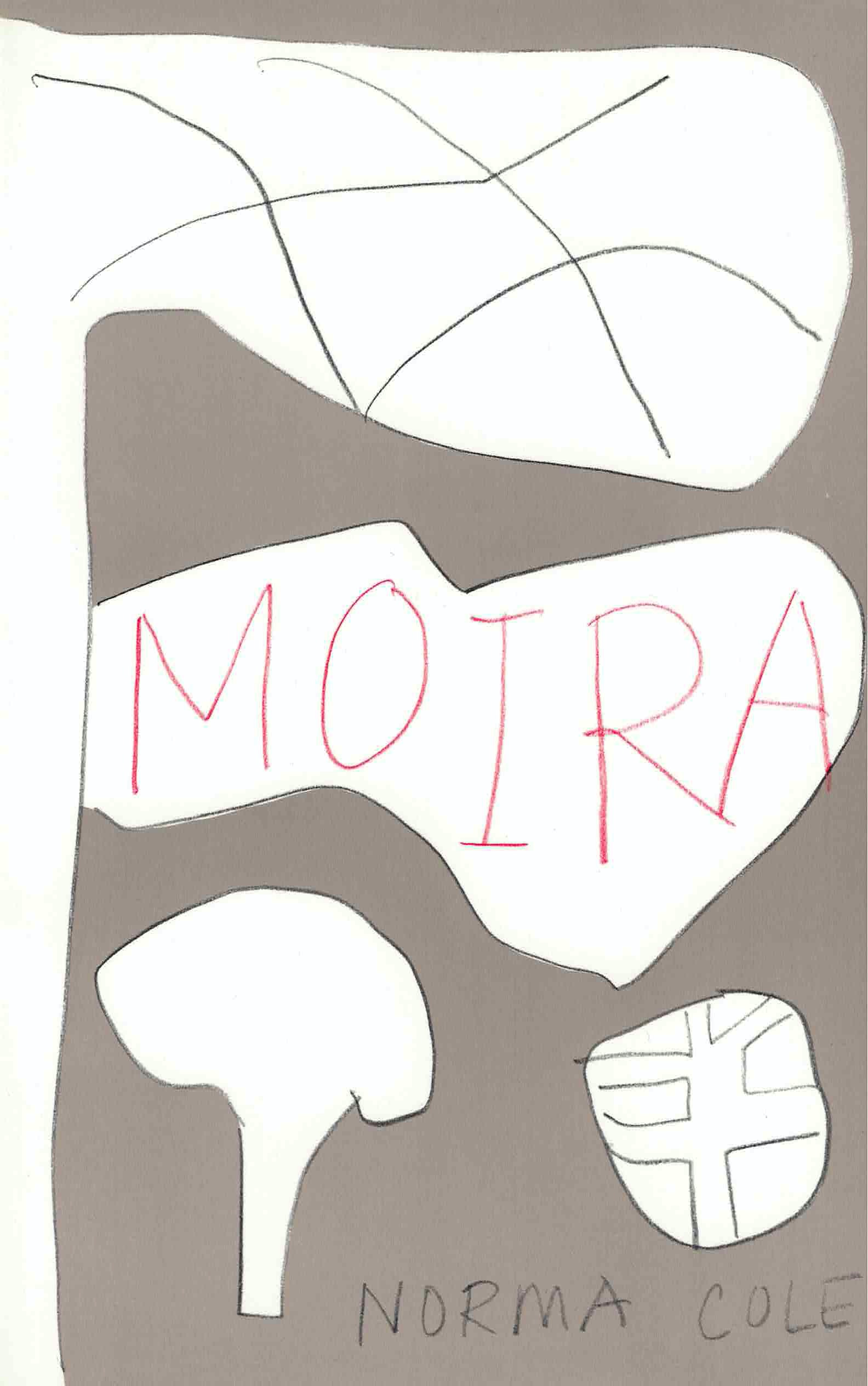 cover of Moira by Norma Cole; light grey background, four large pencil-drawn blobs, white on the inside, Moira handwritten in red all-caps in the biggest center blob