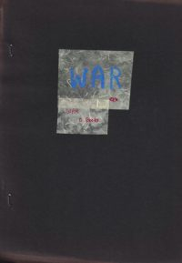 cover of O Three, War edited by Leslie Scalapino, dark grey background with small cut-out white squares with handwritten blue and red writing