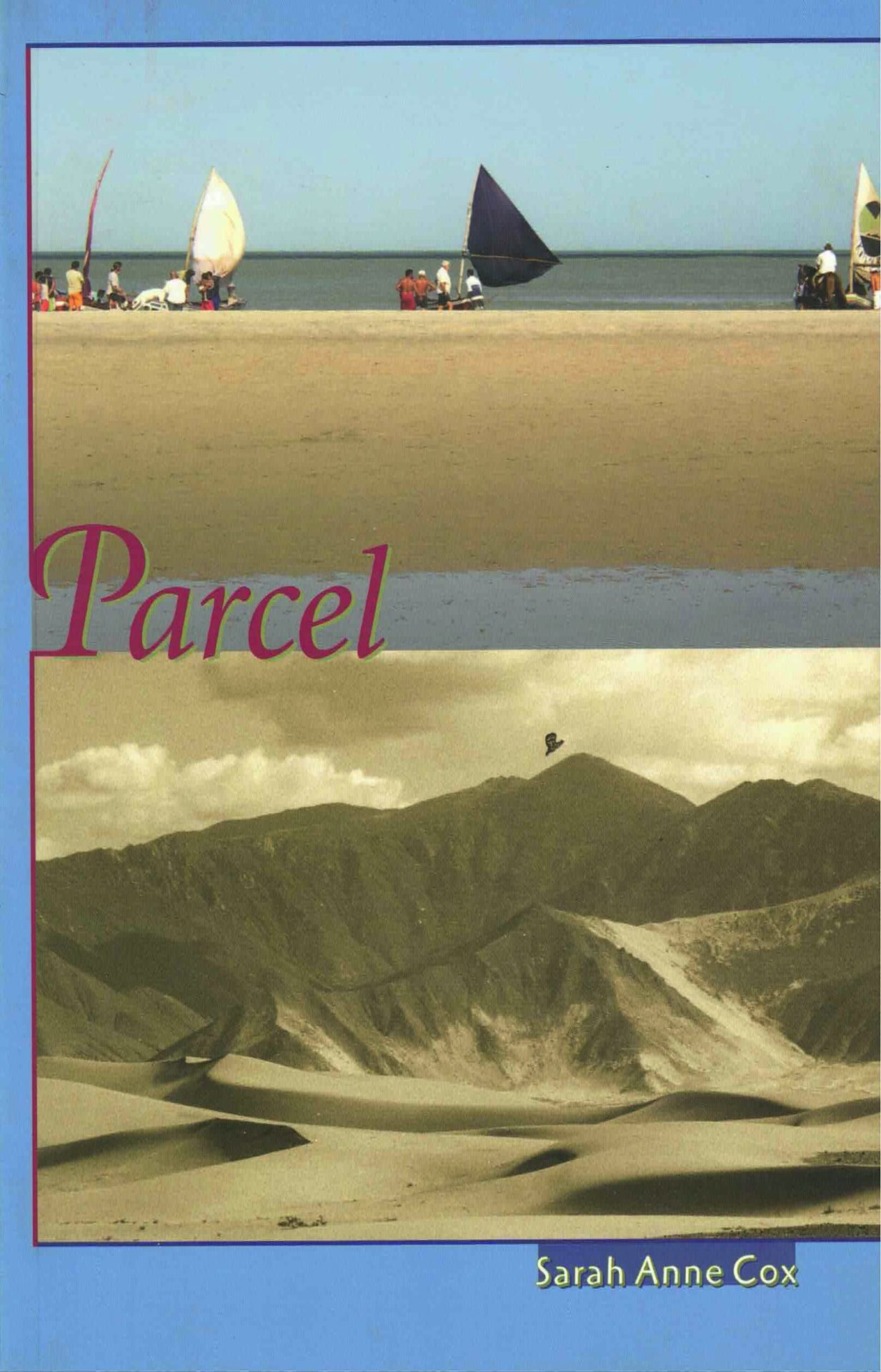 cover of Parcel by Sarah Anne Cox, image of groups of people with small sailboats on a beach above image of a large bird flying over sandy dunes