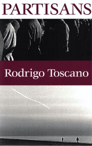 cover of Partisans by Rodrigo Toscano, b&w landscape of two people walking on the beach along bottom half of cover, close of of people standing in a crowd along the top half