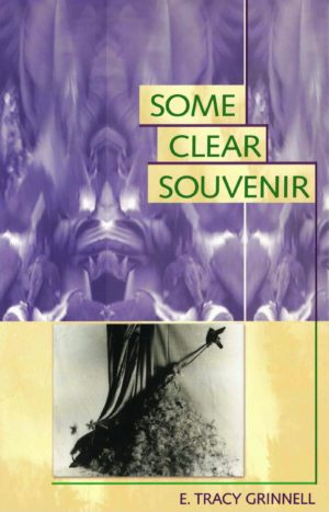 cover of Some Clear Souvenir by E. Tracy Grinnell, lavender purple textured image on top of a b&w image of the fabrics and textures