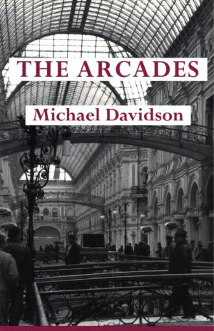 cover of The Arcades by Michael Davidson, b&w image of the inside of a large building with a windowed cieling and many arches along the walls