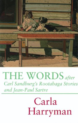 cover of The Words by Carla Harryman, drawing of a dog and doll sitting on a table, shades of light greens, blues, and browns