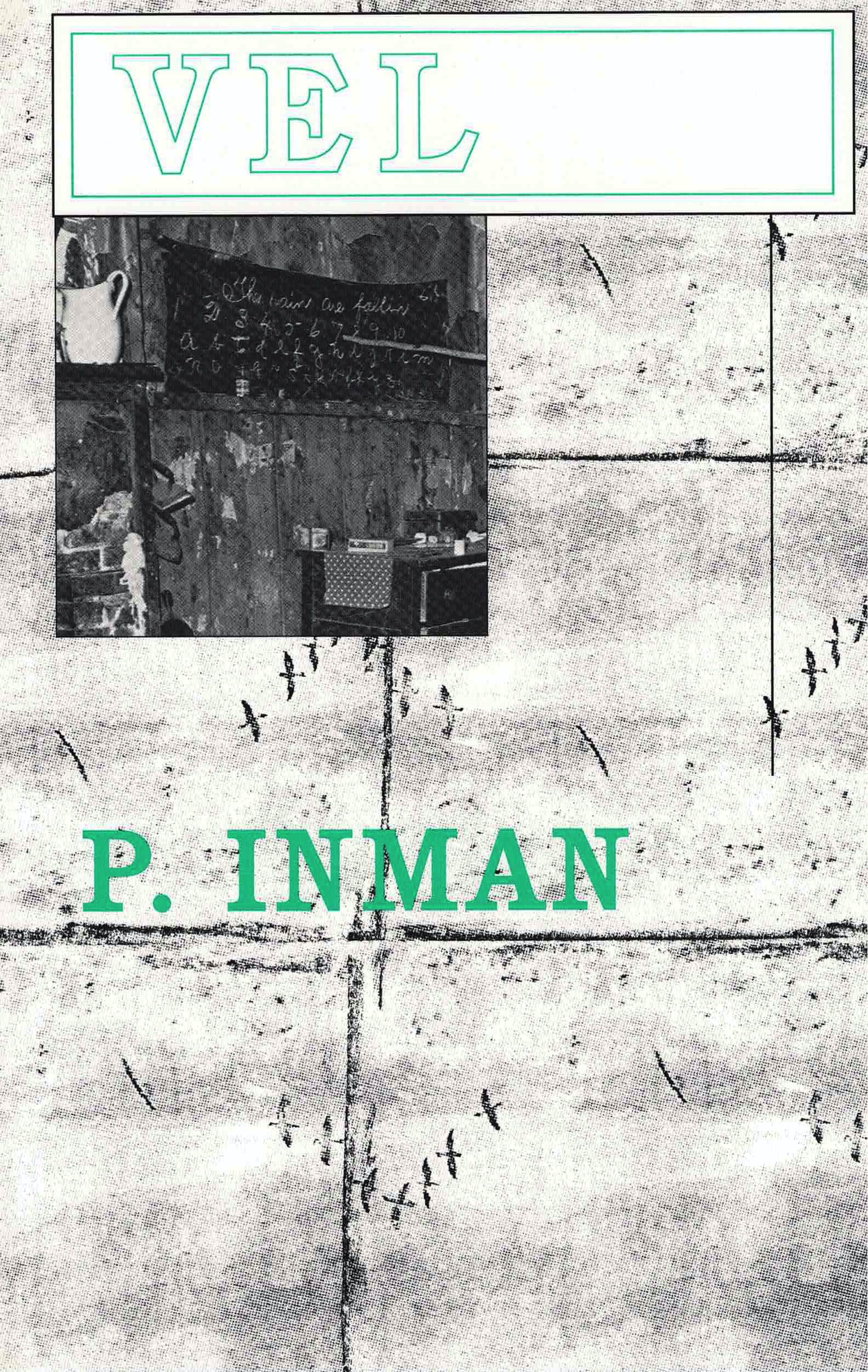 cover of VEL by P. Inman, black line drawing of bird silhouettes and a square b&w image of a wall and white pitcher