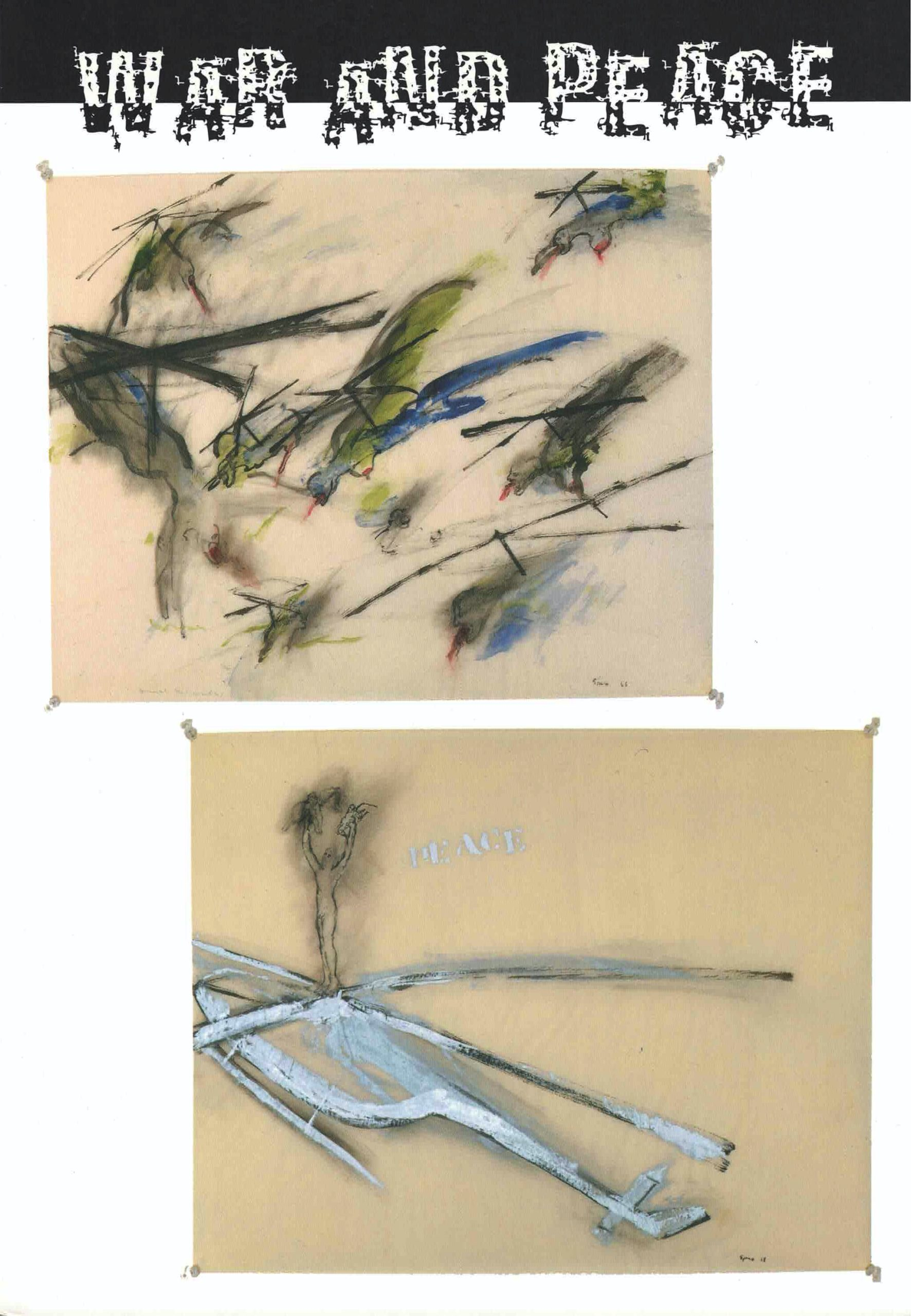 cover War and Peace 1, two pastel drawings in green, blue, white, and blacks on beige paper