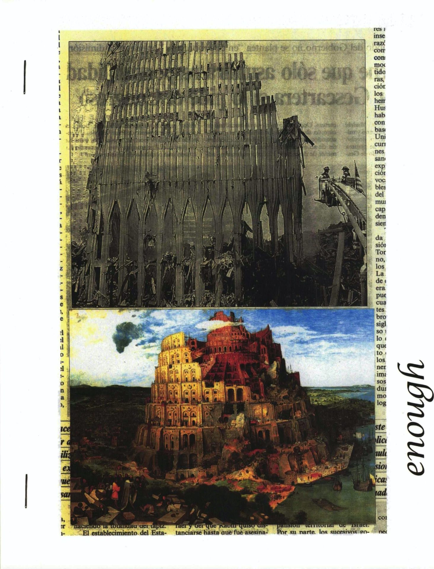 cover of enough; top half is b&w image of a coliseum-type building under construction, bottom half is color image of fully built coliseum-type structure