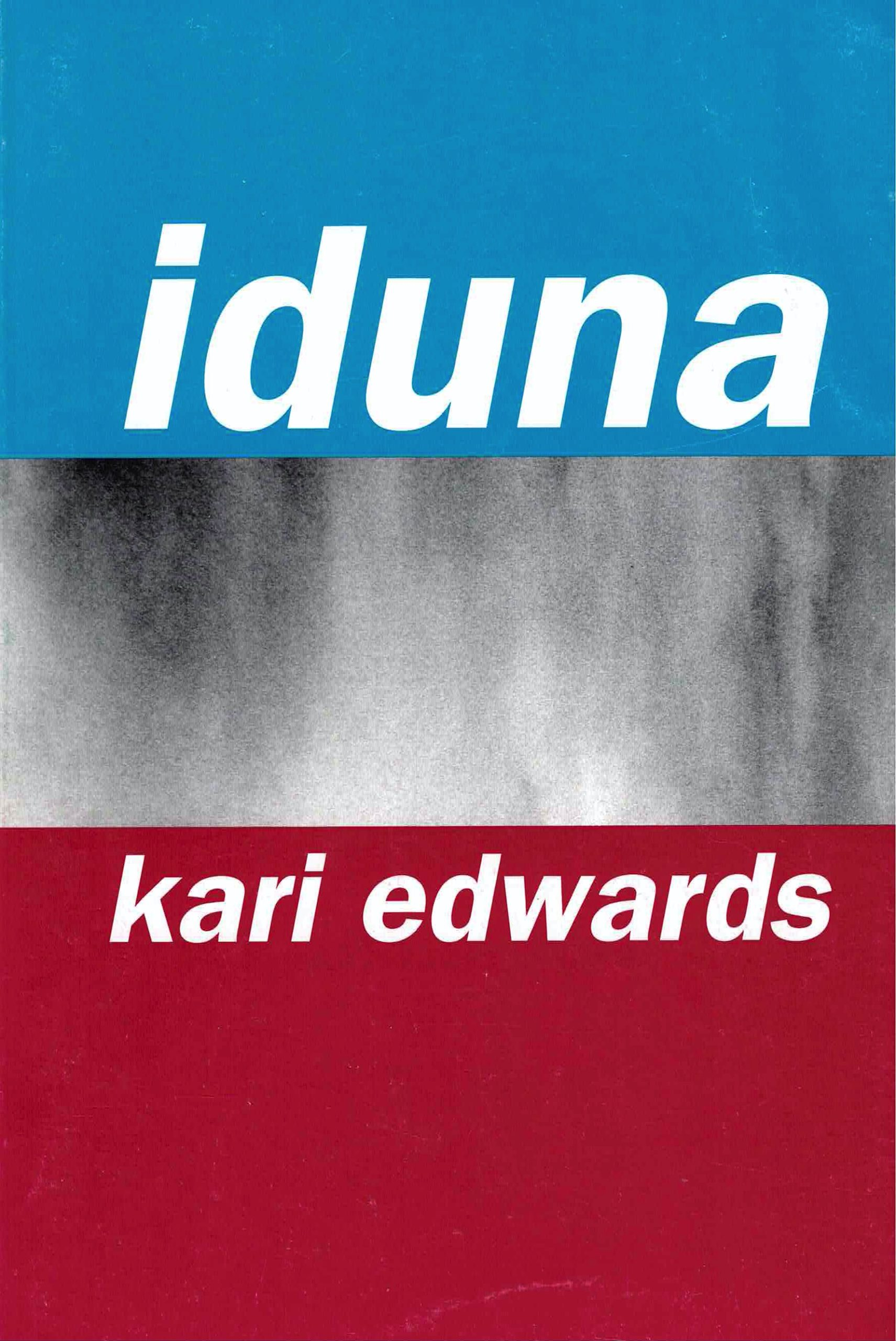 cover of Iduna by kari edwards; top third is bright sky blue, bottom third is deep red, middle thir is textured black and white, like a close up of smoke