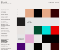 Place magazine homepage for issue number three showing contributors' names in a column on the left and a grid of colored squares on the right
