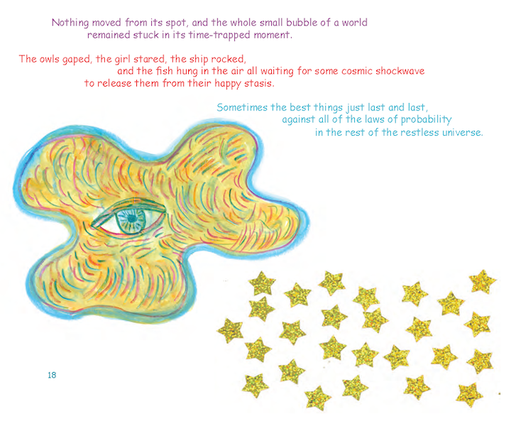 page from Off-World Fairy Tales shows excerpt from a story with image of an eye and a cluster of stars